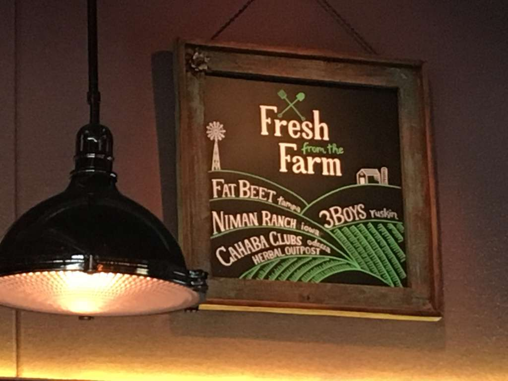 """Fresh from the Farm"" sign listing several producers"