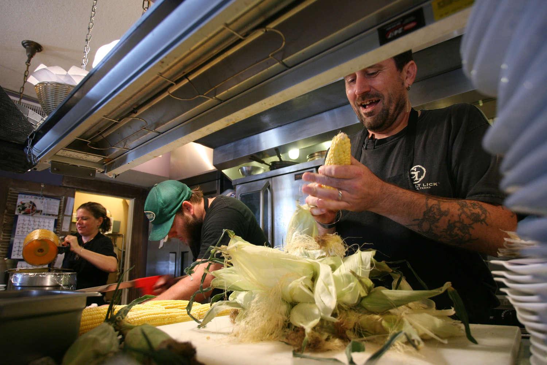 Preparing food in a restaurant kitchen
