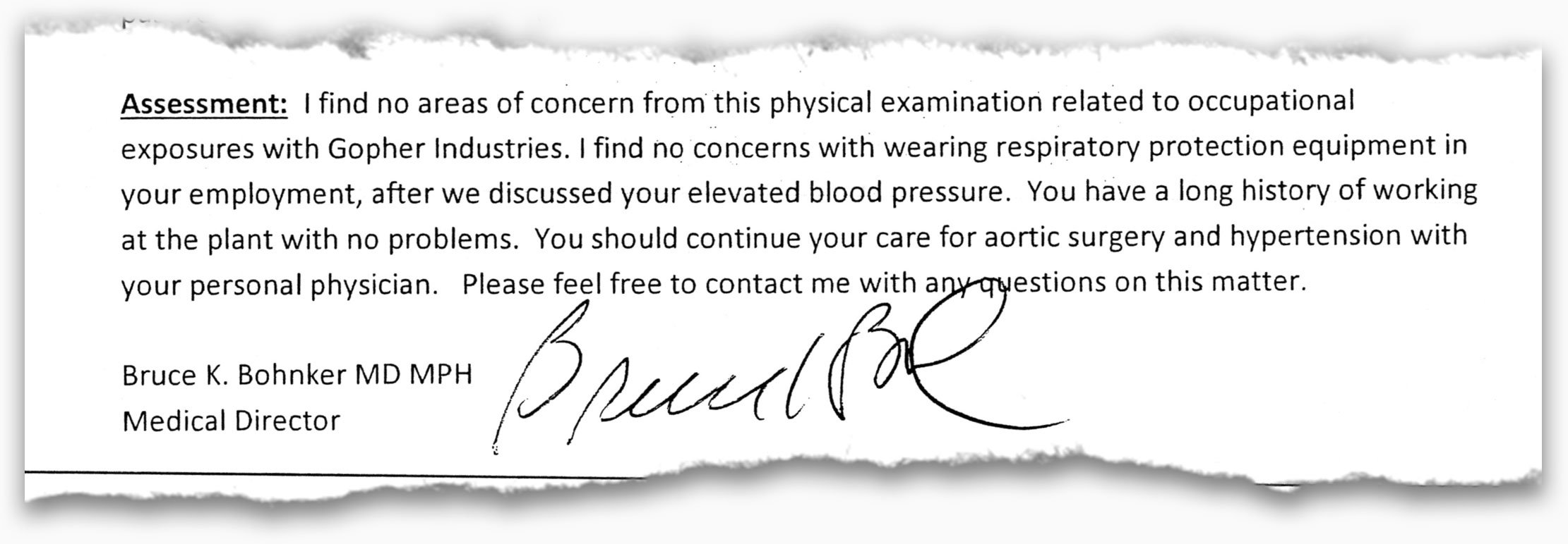 Part of a doctor's typed assessment of a Gopher employee's health.